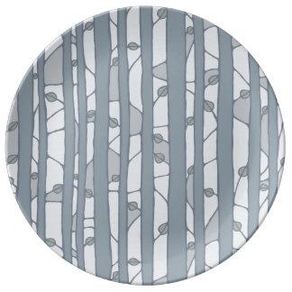 Into the Woods grey Porcelain Plate Porcelain Plates