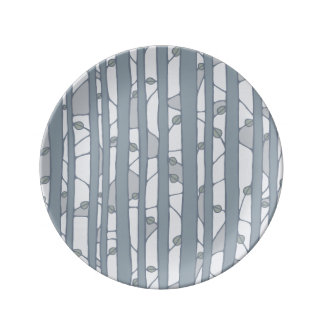 Into the Woods grey Porcelain Plate small Porcelain Plate