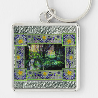 Into the Woods Silver-Colored Square Key Ring