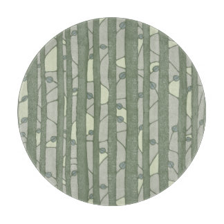 Into the Woods Leaves green round Cutting Board