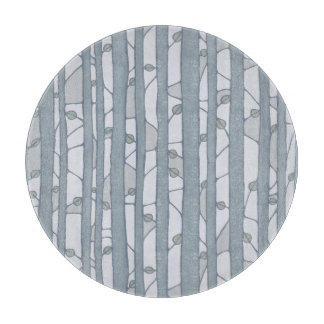 Into the Woods Leaves grey round Cutting Board