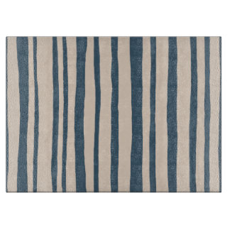 Into the Woods Stripes blue Glass Cutting Board