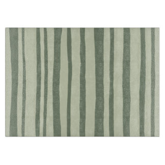 Into the Woods Stripes green Glass Cutting Board