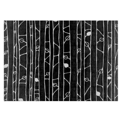Into the Woods white Glass Cutting Board medium