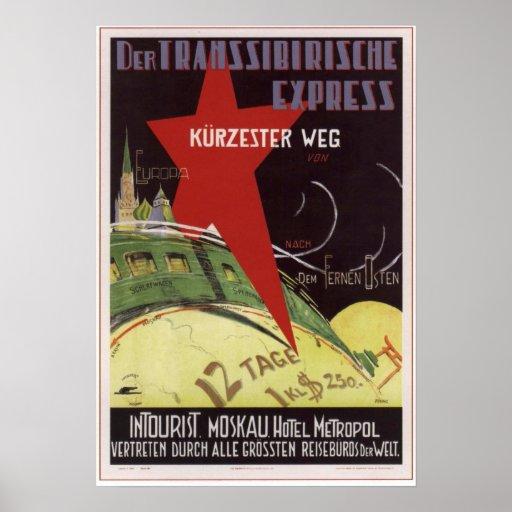 Intourist. Transsiberian express USSR 1930 Print