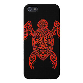 Intricate Black and Red Sea Turtle Case For iPhone 5/5S