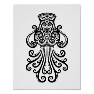 Intricate Black Aquarius Zodiac on White Poster