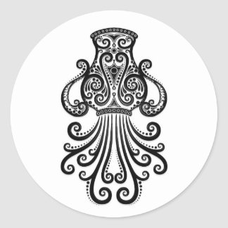 Intricate Black Aquarius Zodiac on White Stickers