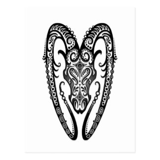 Intricate Black Aries Zodiac on White Postcard
