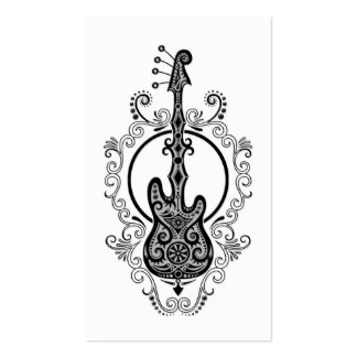 Intricate Black Bass Guitar Design on White Pack Of Standard Business Cards