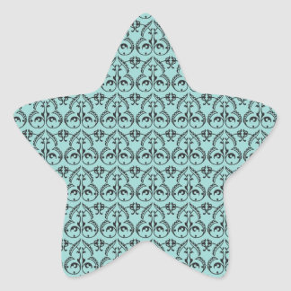 intricate black damask pattern on pretty blue star sticker
