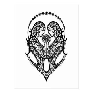 Intricate Black Gemini Zodiac on White Postcard