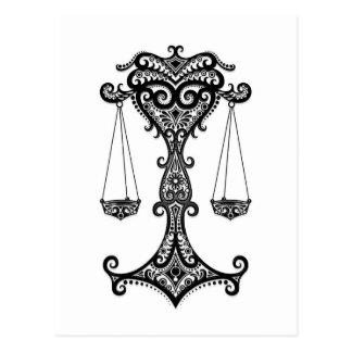 Intricate Black Libra Zodiac on White Postcard