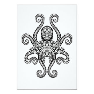 Intricate Black Octopus on White Personalized Invites