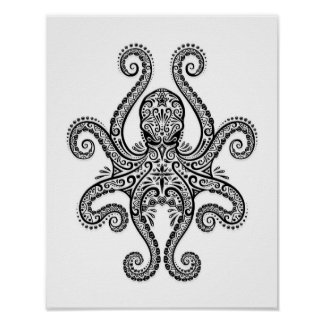 Intricate Black Octopus on White Poster