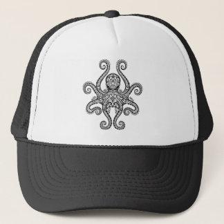 Intricate Black Octopus Trucker Hat