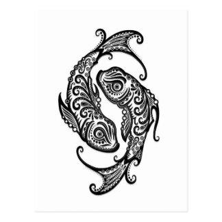 Intricate Black Pisces Zodiac on White Postcard