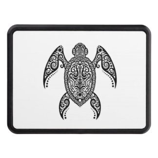Intricate Black Sea Turtle on White Hitch Cover