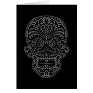 Intricate Black Sugar Skull Greeting Cards