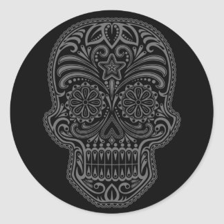 Intricate Black Sugar Skull Round Sticker