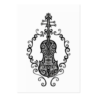 Intricate Black Violin Design on White Pack Of Chubby Business Cards