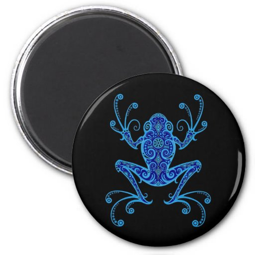 Intricate Blue and Black Tree Frog Refrigerator Magnet