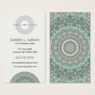 Intricate Blue and Grey Mandala Kaleidoscope Business Card