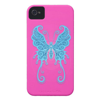 Intricate Blue and Pink Butterfly iPhone 4 Case-Mate Case