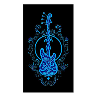 Intricate Blue Bass Guitar Design on Black Business Card Template