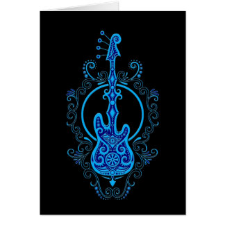Intricate Blue Bass Guitar Design on Black Greeting Card