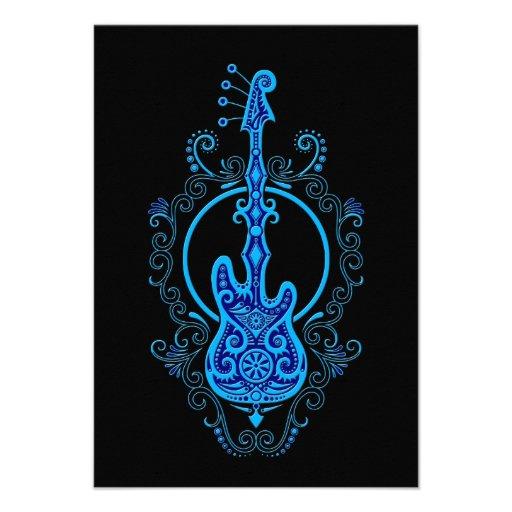 Intricate Blue Bass Guitar Design on Black Announcements