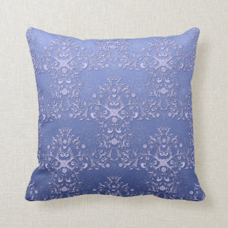 Intricate Blue Floral Damask Pattern Cushion