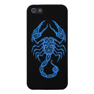 Intricate Blue Scorpio Zodiac on Black iPhone 5/5S Case