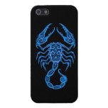 Intricate Blue Scorpio Zodiac on Black iPhone 5 Cover