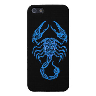 Intricate Blue Scorpio Zodiac on Black iPhone 5 Cover