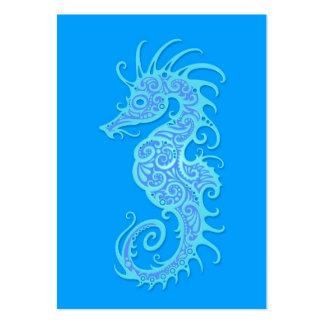 Intricate Blue Seahorse Design Business Card