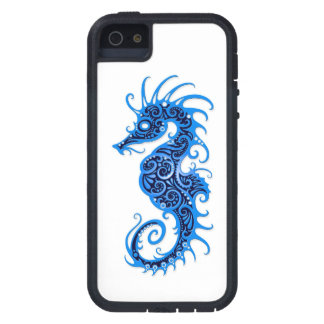 Intricate Blue Seahorse Design on White iPhone 5 Cases