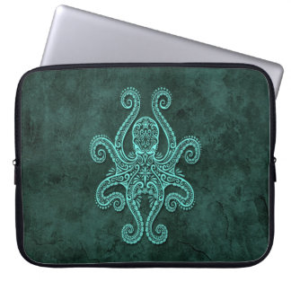 Intricate Blue Stone Octopus Laptop Sleeve