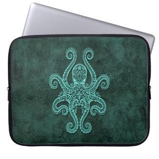 Intricate Blue Stone Octopus Laptop Sleeve