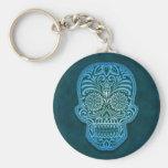 Intricate Blue Sugar Skull Basic Round Button Key Ring