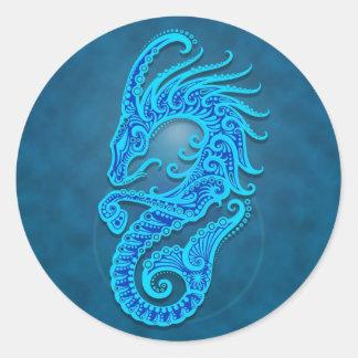 Intricate Blue Tribal Capricorn Classic Round Sticker