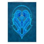 Intricate Blue Tribal Gemini Greeting Card