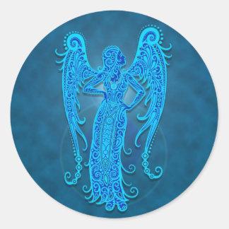 Intricate Blue Tribal Virgo Classic Round Sticker