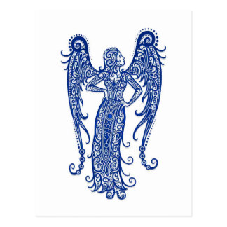 Intricate Blue Virgo Zodiac on White Postcard