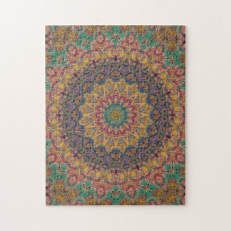 Intricate Blue, Yellow, and Teal Mandala Puzzle