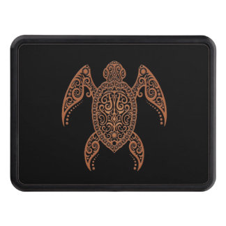 Intricate Brown and Black Sea Turtle Trailer Hitch Cover