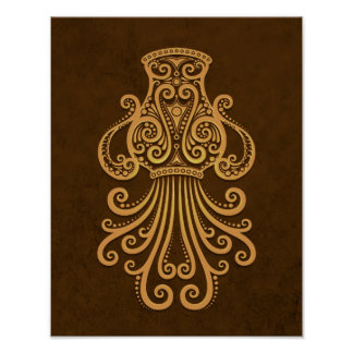 Intricate Brown Aquarius Zodiac Poster