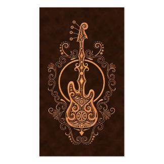 Intricate Brown Bass Guitar Design Business Card Template
