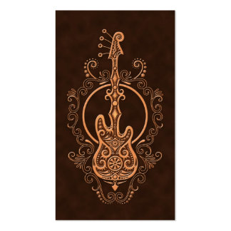 Intricate Brown Bass Guitar Design Business Card Template