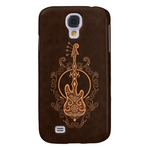 Intricate Brown Bass Guitar Design Samsung Galaxy S4 Covers